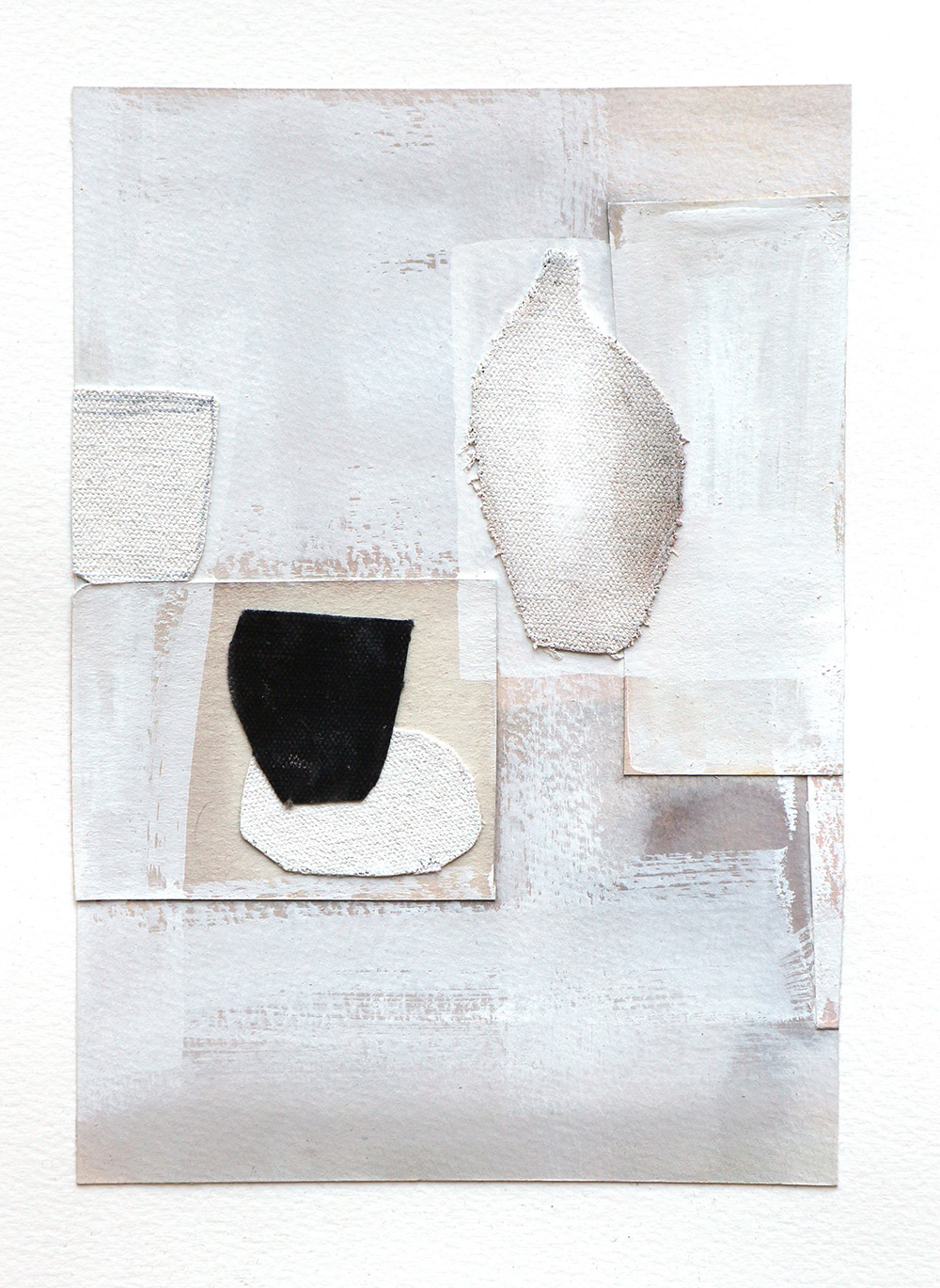 tabletop paper and textile collage 2