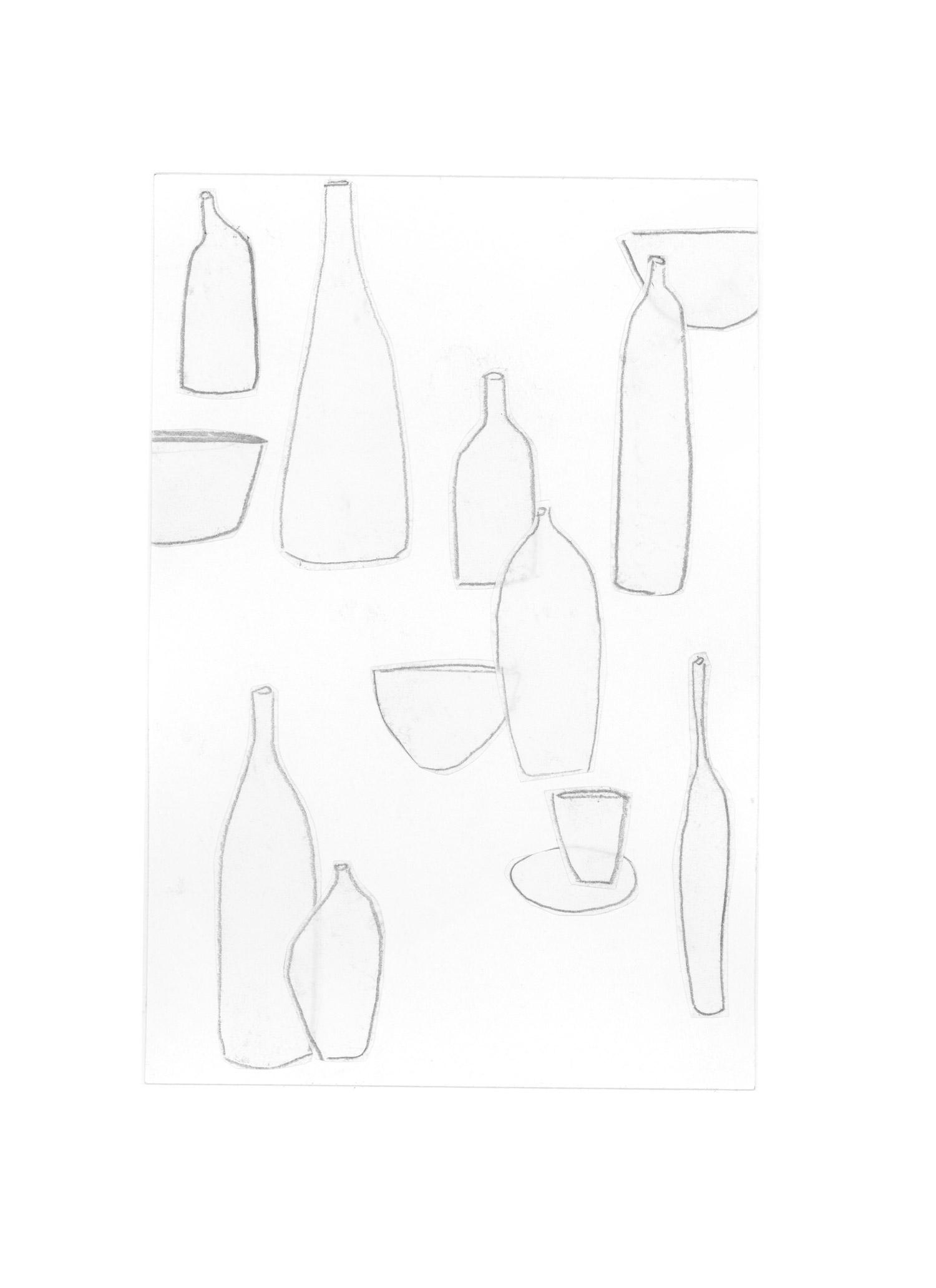 mediterranean bottles collage series, collage no. 4